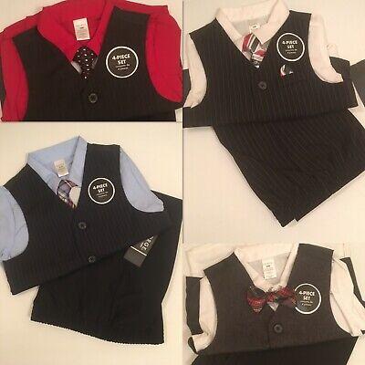 4pcs/set Baby Boys Dress Suit Vest + Shirt + Necktie +Pants Kids Clothes Outfits ()