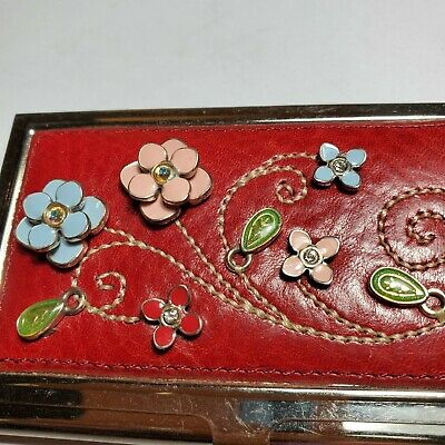 Brighton Business Card Holder W 3d Flowers And Rhinestone