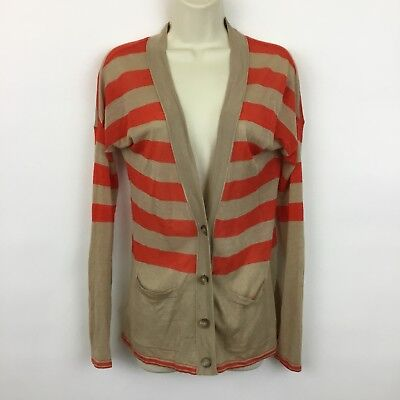 Ann Taylor LOFT linen cardigan sweater Womens size Small beige red striped thin