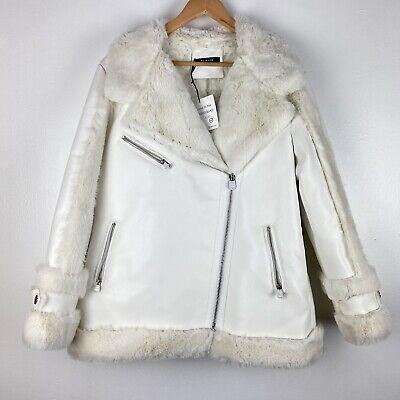 HEURUEH Moto Jacket Size Large off white faux leather fur full zip $378 o1207