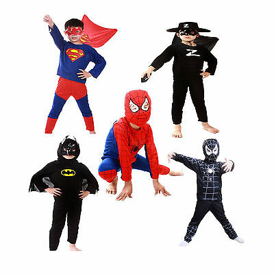Costumes For Children (Spideman Costume Superhero Cosplay Fancy Dress Halloween Party For Kids)