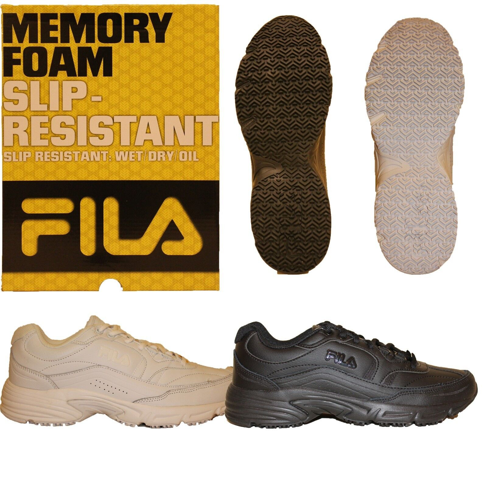Mens Fila Memory Foam Workshift Non Skid Slip Resistant Work Shoes Black White