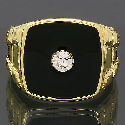 Mens 14K Gold Plated Iced Out Hip Hop Style Black Top Center Cz Bling Pinky Ring