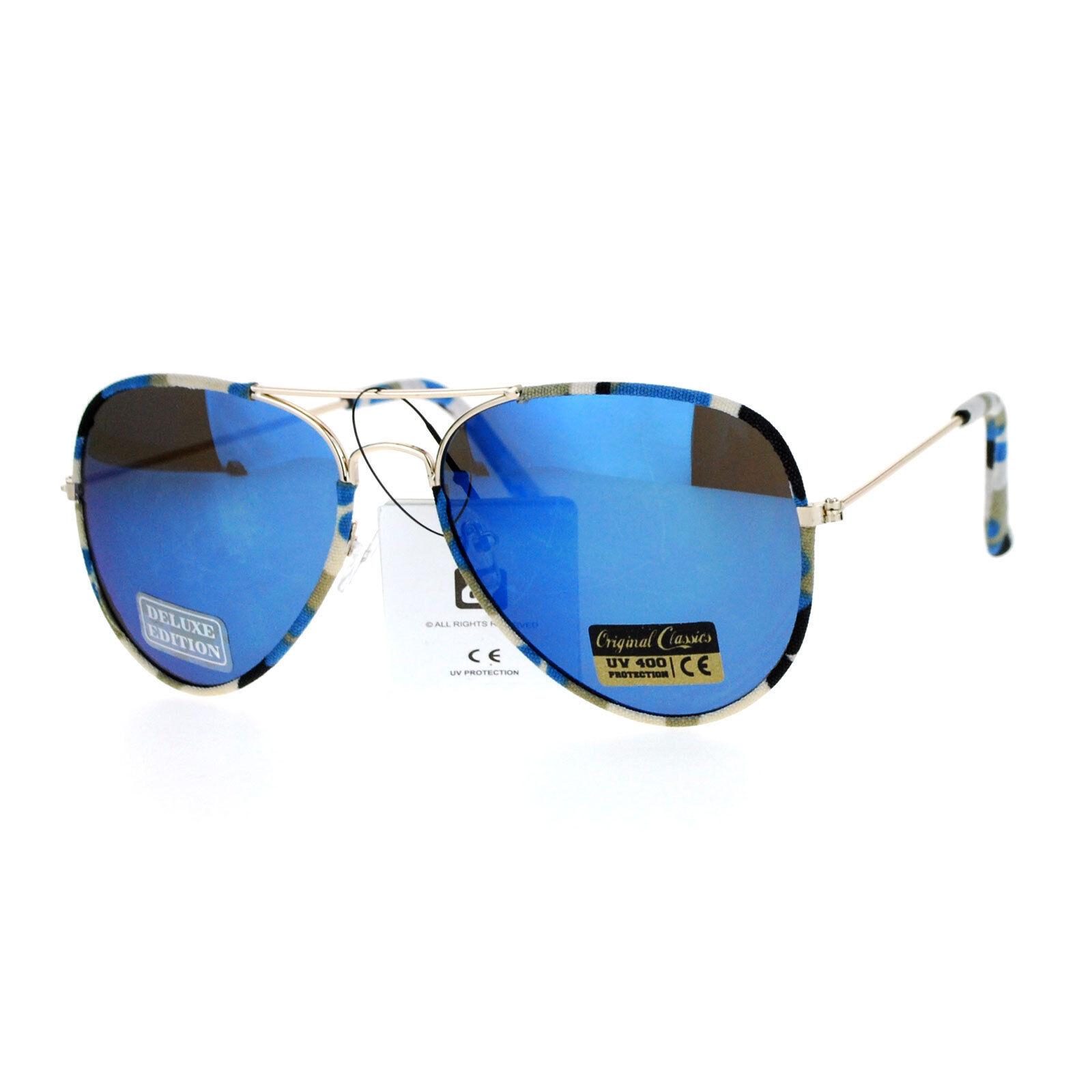 Camo Camouflage Print Fabric Frame Aviator Sunglasses Unisex