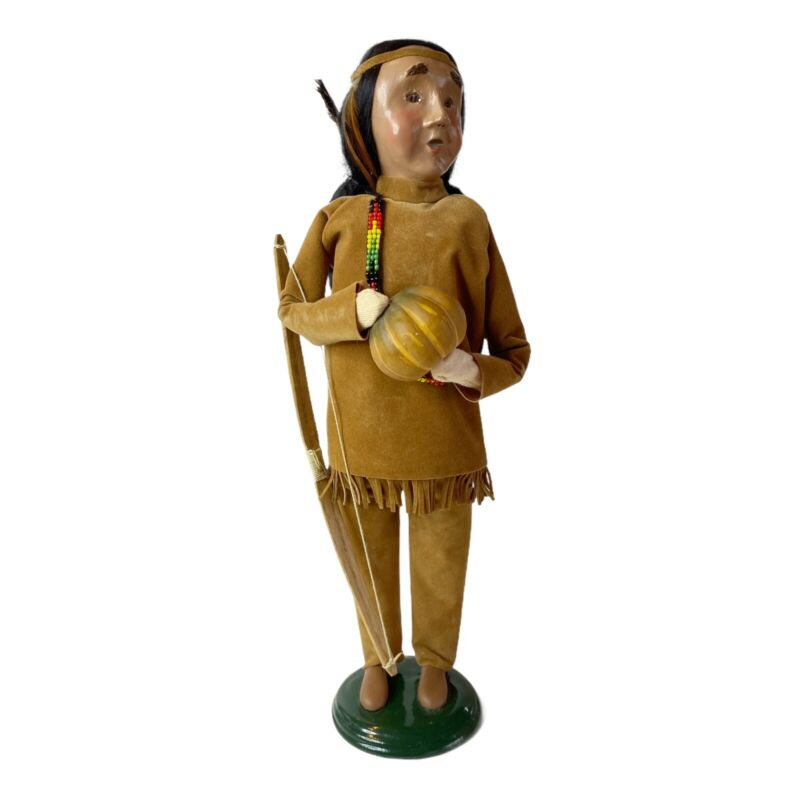 Byers Choice Caroler Indian Man with Pumpkin and Bow Arrow Suede Suit 2002