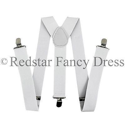 Herren Weiß 35mm Breit Verstellbare Hosenträger Elastisch Kostüm (Kostüm Hosenträger)
