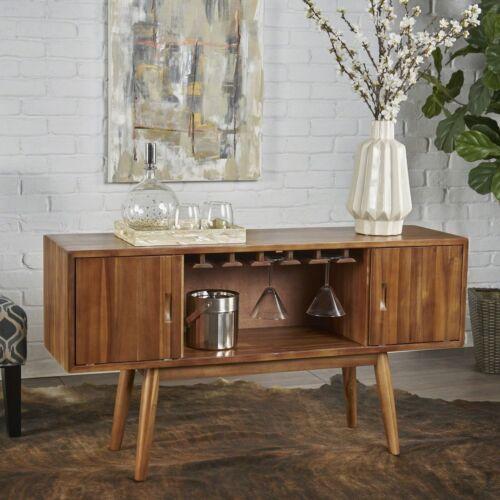 Edye Mid Century Light Oak Finished Wood Wine Bar Cabinet Cabinets & Cupboards