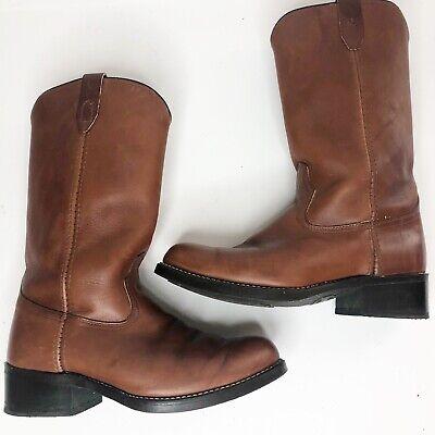 Acme Vintage Chestnut Brown Leather Oil Resistant Cowboy Boots Size 8 EW
