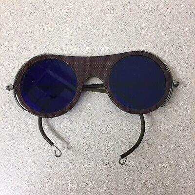 Vintage Welding Glasses Round Blue Lens Wilson Steam Punk Goggles Antique Ar127