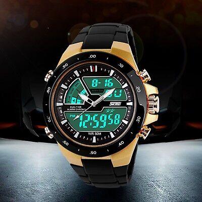 Men Digital Analog Dual Display Date Alarm Waterproof Sport Quartz Wrist Watches