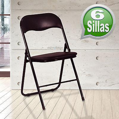 Pack 6 sillas plegables negras ahorro de espacio a precio economico NUEVAS