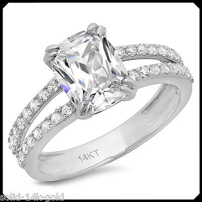 Alice 3.30CT Cushion Diamond Solid 14K White GOLD Engagement Wedding Bridal Ring