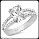 Alice 3.50CT Cushion Diamond Solid 14K White GOLD Engagement Wedding Bridal Ring