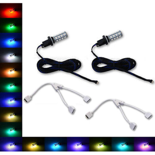 880 881 27 SMD RGB Multi-Color Changing Shift Led Fog Light Bulb Nc Pair
