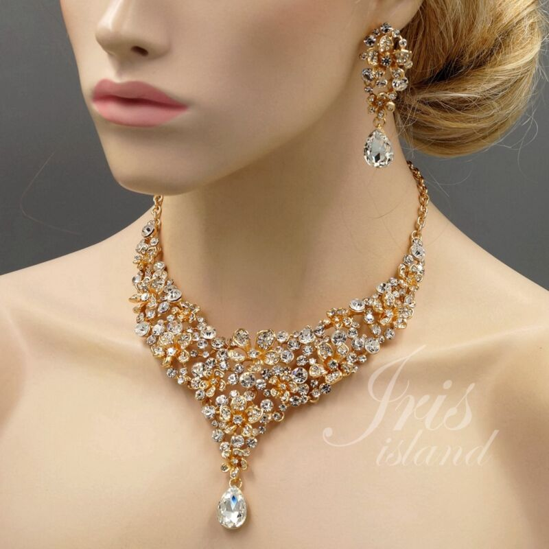 18K Gold Plated Flower Crystal Necklace Earrings Bridal Wedding Jewelry Set 0898