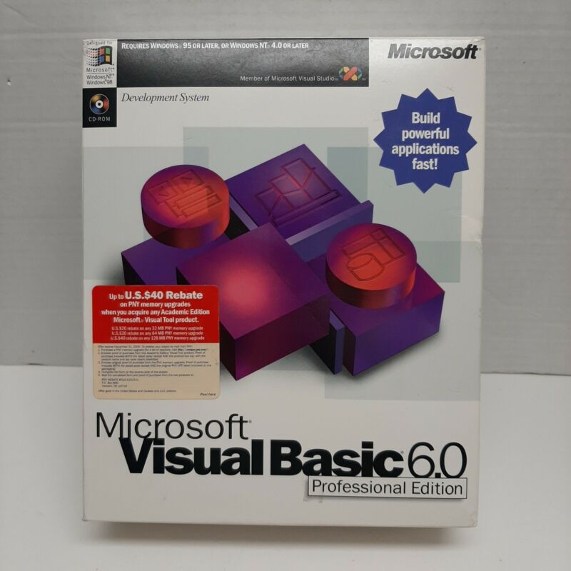 Microsoft Visual Basic 6.0 Professional Edition Windows software Pre-owned