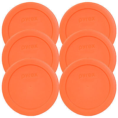 "Pyrex 7200-PC Round 2 Cup 5"" Storage Lid Cover Orange 6 Pk for Glass Bowl New"