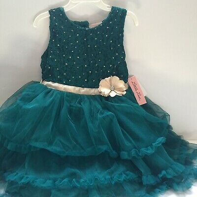 Formal Little Girl Dresses (Little Lass Girls Formal Dress Size 5 Green Embellished)