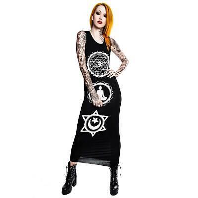 KILLSTAR Chanti Higher Self Maxi Dress T-Shirt-Kleid Lang Gothic Punk Buddhismus