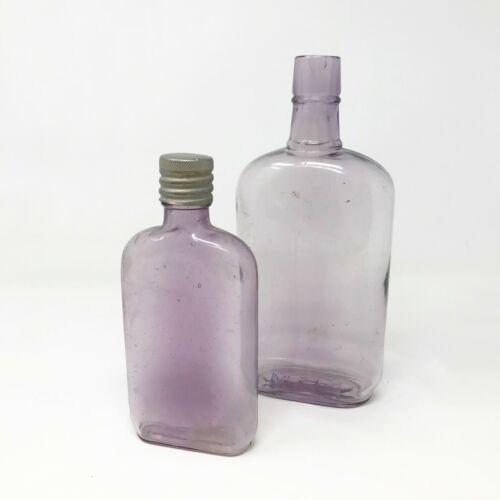 Antique Glass Bottle Set with Purple Amethyst Tint