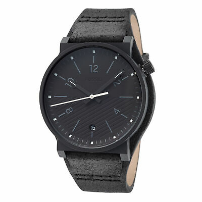 Fossil FS5511 Men's Barstow Black-Tone Steel 42mm Black Dial Leather Watch