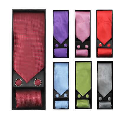 Mens 3 Piece Wedding Tie Set Gift Box Necktie Cufflinks Pock
