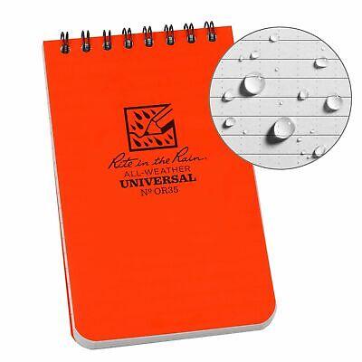 Rite In The Rain Weatherproof Top-spiral Notebook 3 X 5 Orange Coverpattern