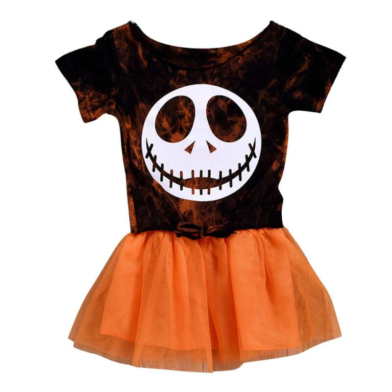 Kids Toddler Baby Girls Skull Printed Party Skirt Halloween Fancy Dress Outfit