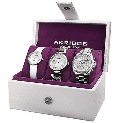 Akribos XXIV Women's Quartz Diamond Multifunction Strap/Bracelet Watch Set