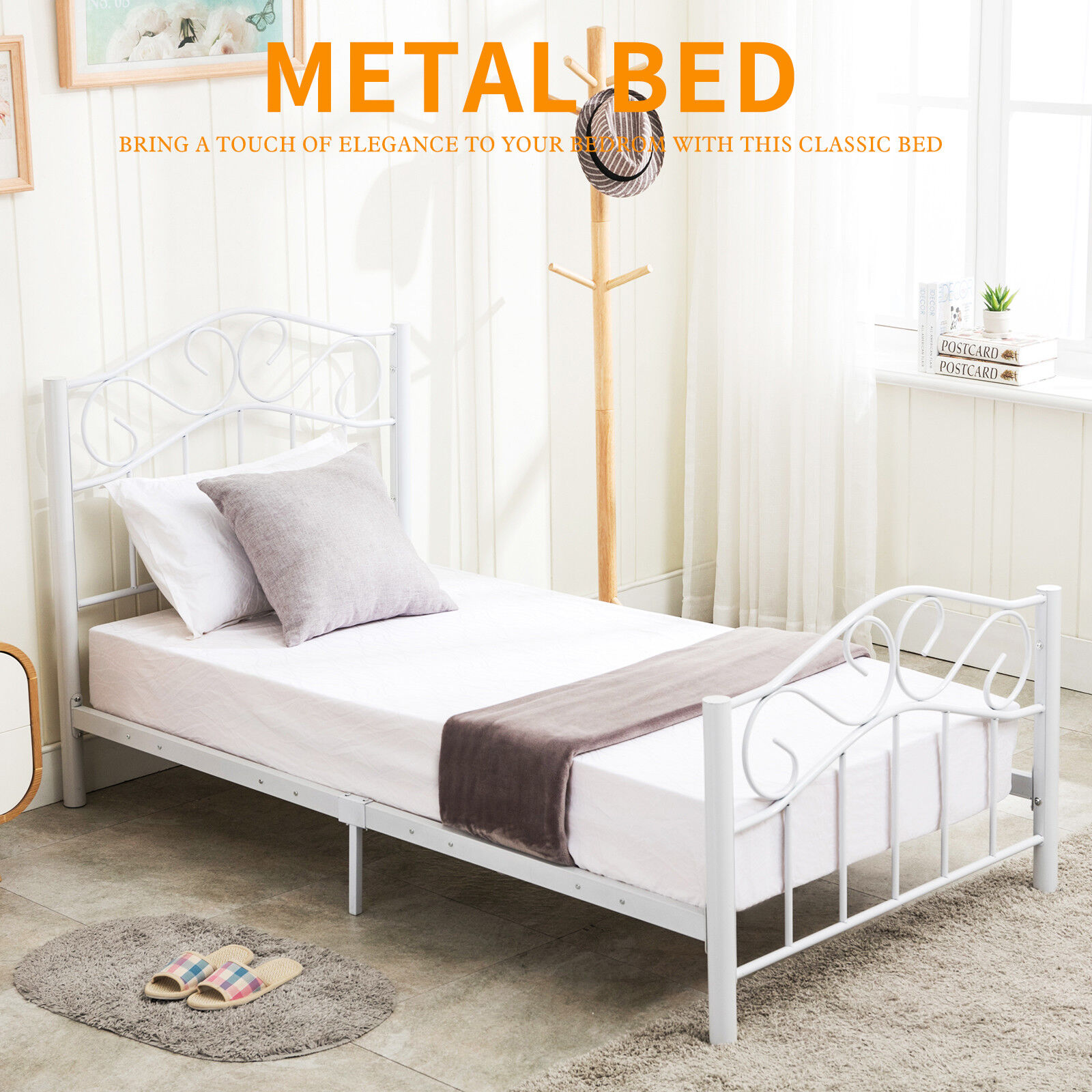 Miraculous Details About Twin Size Heavy Duty Metal Bed Frame Headboard Footboard Bedroom Furniture White Beutiful Home Inspiration Truamahrainfo