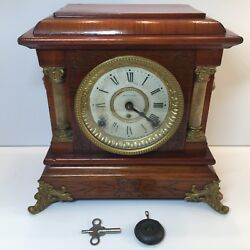 Seth Thomas 1910 Rosewood Adamantine Mantel Clock Hourly Chime Pendulum and Key