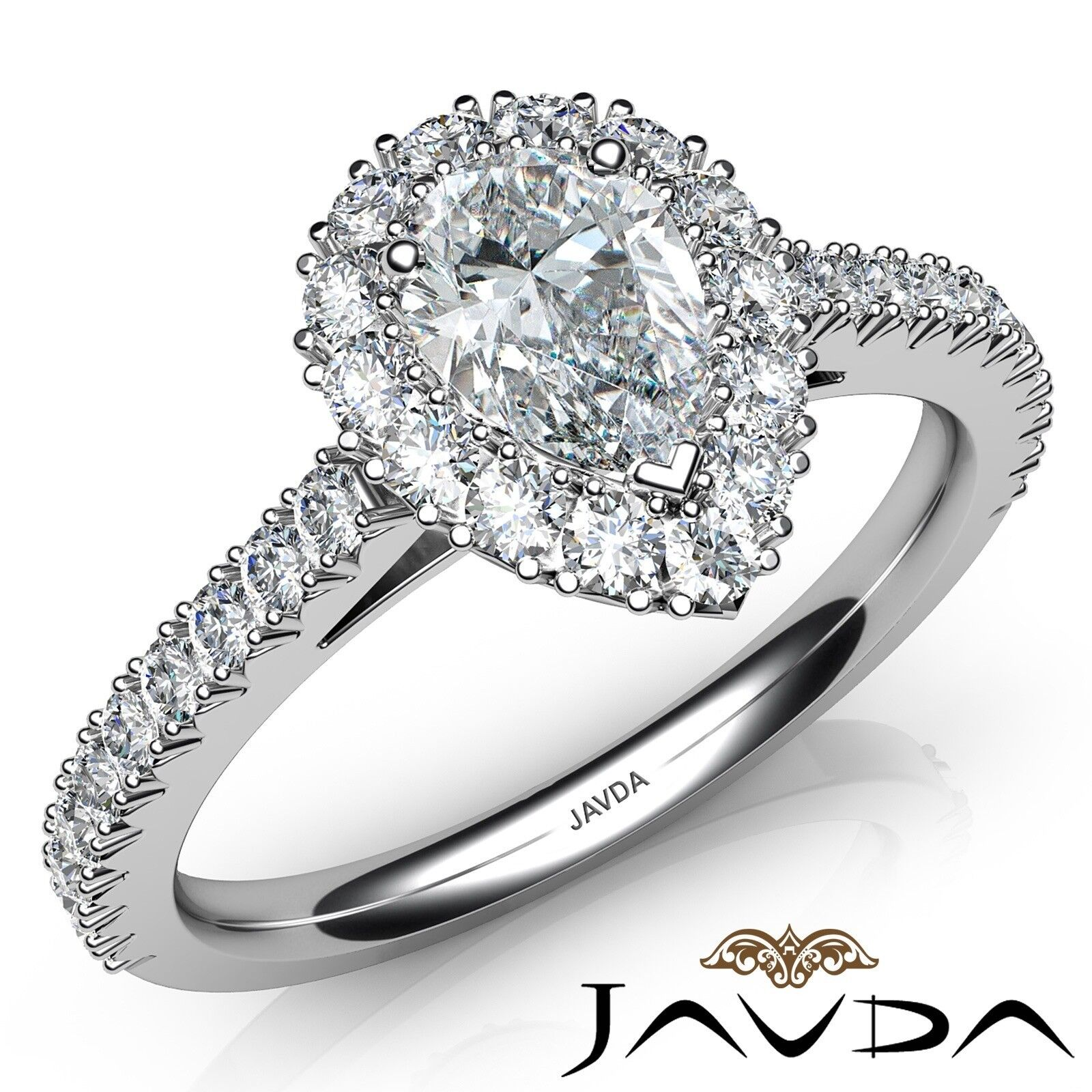 1.9ctw French Cut Halo Pave Pear Diamond Engagement Ring GIA G-VS1 White Gold