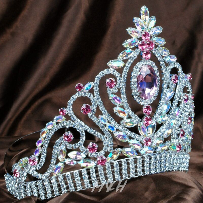 Beauty Contest Tiara Pink Crown AB Crystal Bridal Pageant Diamante Headpiece New