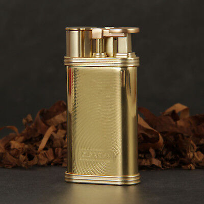 CIGARISM Gold Ripple Patter Zine-Alloy 1 Torch Flame Professional Cigar Lighter
