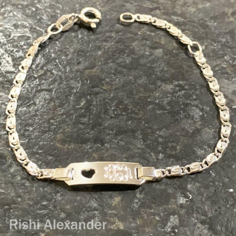 Real 925 Sterling Silver Childrens Heart Monogram Personalized Bracelet