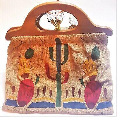 1940s Handbags and Purses History Vintage 1940s Bark Cloth Sewing Bag Southwestern Wood Handle Cactus Prickly Pear $39.99 AT vintagedancer.com