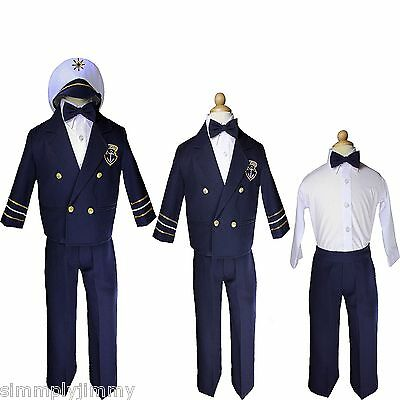 Baby Boy Toddler Navy Captain Nautical Formal Costume Suit Outfits sz S-XL - Toddler Marine Costume