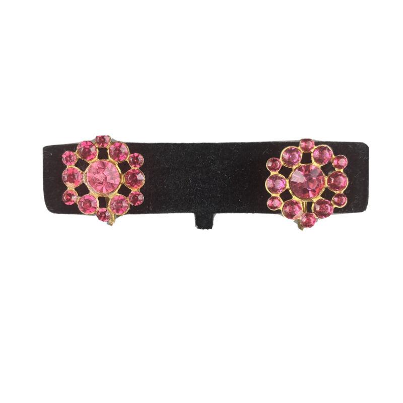 Vintage Pink Crystal Cluster Screw Back Earrings