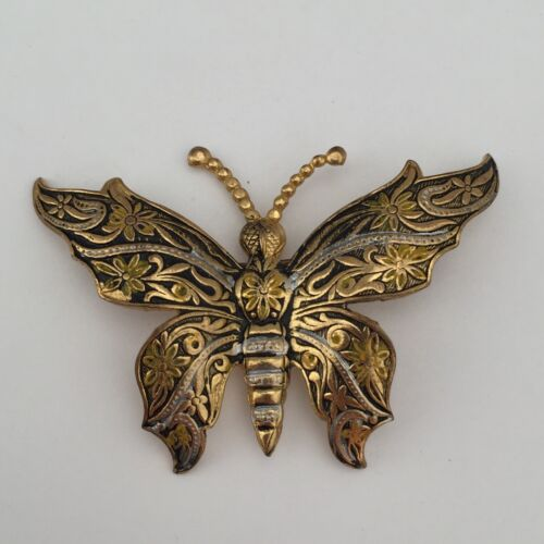 Butterfly Brooch Pin Gold Tone Metal Spain Vintage Etched Damascene Style