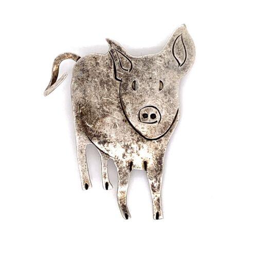 VTG Estate Handcrafted Mexico Pig Brooch Pin! 56b
