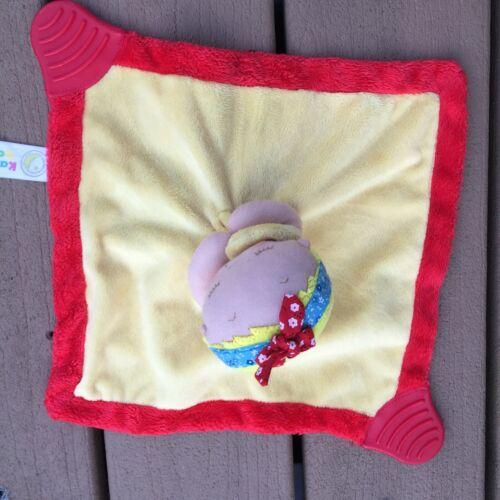 Karen Katz Baby Doll Yellow Red Satin Lovey Security Blanket Animal Adventure - $10.67