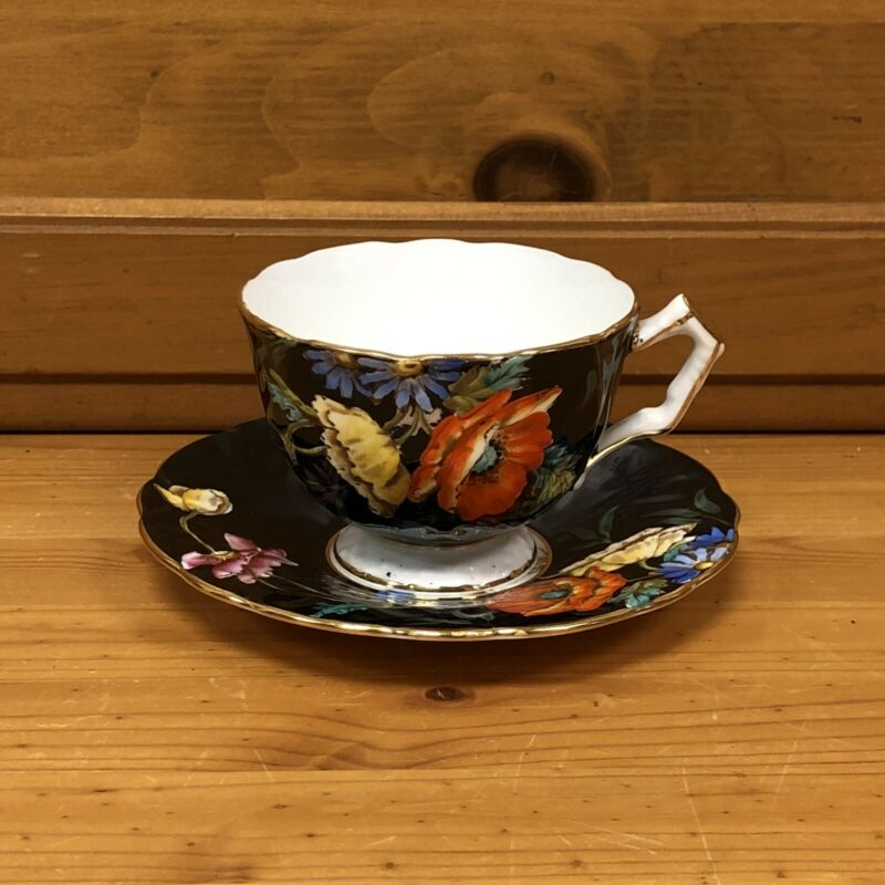 Aynsley England Bone China Black Floral Cup & Saucer