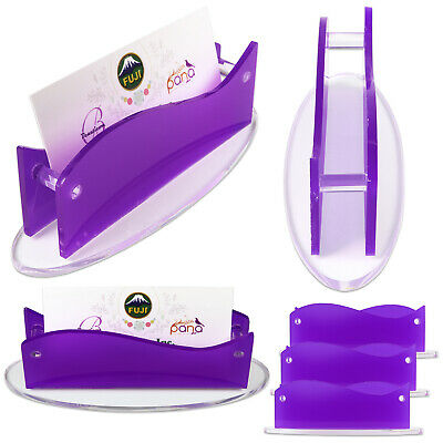 6 X New Clear Purple Acrylic Plastic Desktop Business Card Holder Display Usa