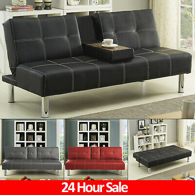 New Leather SofaBed 2 3 Seater Double Sleeper Sofa Bed Modern Living Room Couch