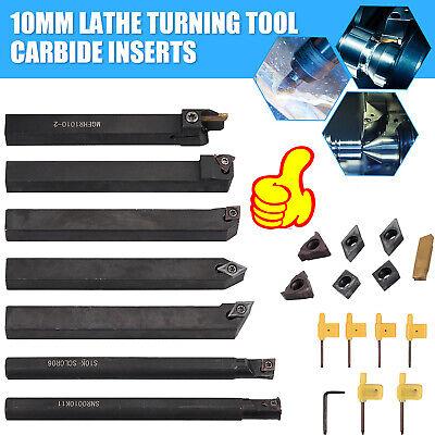 10mm Shank Lathe Boring Bar Turning Tool Holder Set With 7x Inserts Wrench Kit