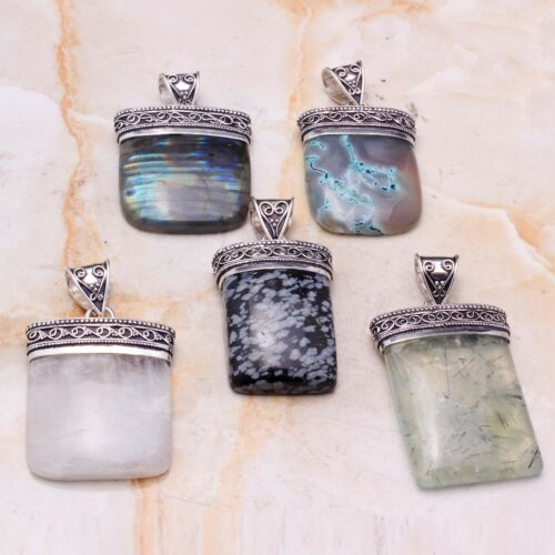Multi Gemstone Handmade 5 pcs Wholesale Lot Pendant Jewelry  Lot-8045