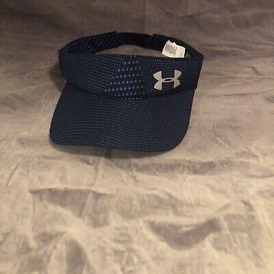 Women's Under Armour Visor Sun Hat Golf Tennis Solid Navy Blue One Size EUC