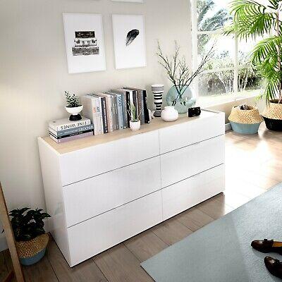Comoda Gia 6 cajones Blanco brillo – roble Natural