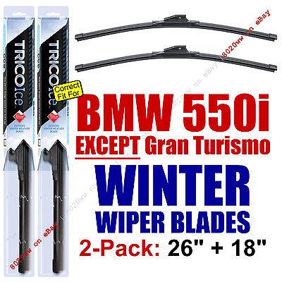 WINTER Wipers 2pk Prem Grade fit 2011-16 BMW 550i, EXCEPT Gran Turismo 35260/180