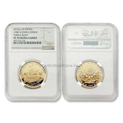 South Korea 1986 G50KW Olympics - Turtle Boat Gold Coin NGC PF 70 UC SKU#5990